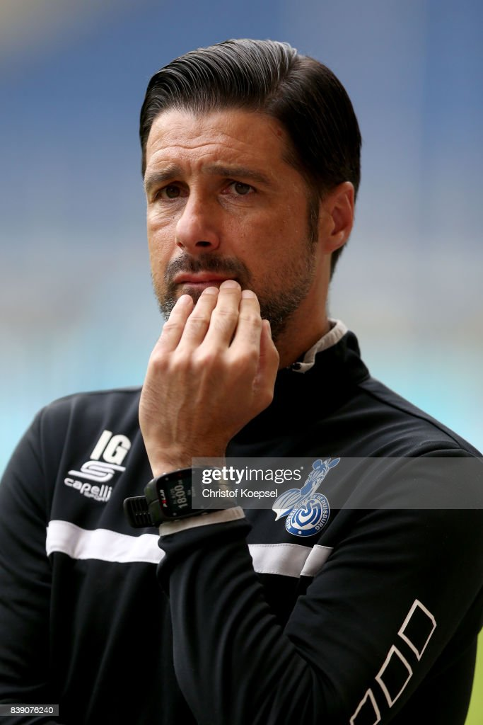 Head coach Ilia Gruev Of Duisburg looks on prior to the Second Bundesliga match between MSV Duisburg and SV Darmstadt 98 at Schauinsland-Reisen-Arena on August 25, 2017 in Duisburg, Germany.