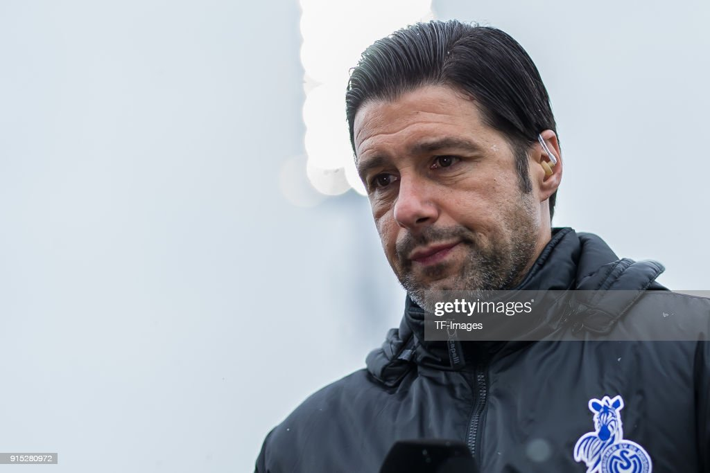 Head coach Ilia Gruev of Duisburg looks on prior to the Second Bundesliga match between SV Darmstadt 98 and MSV Duisburg at Merck-Stadion am Boellenfalltor on February 4, 2018 in Darmstadt, Germany.