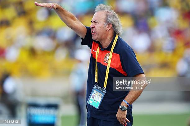 Head coach Ilidio Vale of Portugal gestures during the FIFA U20 World Cup 2011 quarter final match between Portugal and Argentina at Estadia Jaime...