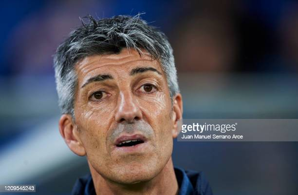 Head coach Imanol Alguacil of Real Sociedad looks on prior to the start the La Liga match between Real Sociedad and Real Valladolid CF at Estadio...