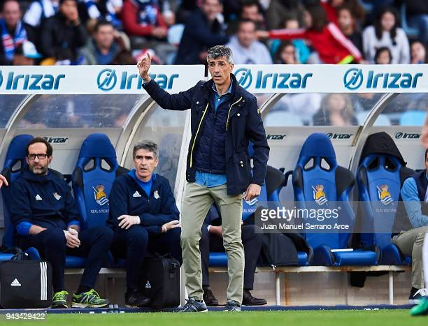 Head coach Imanol Alguacil of Real Sociedad reacts during the La Liga match between Real Sociedad de Futbol and Girona FC at Estadio Anoeta on April...