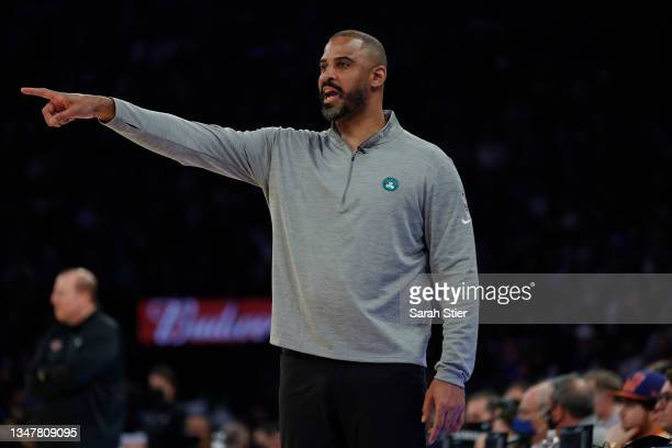 Head coach Ime Udoka of the Boston Celtics directs his team during the second half against the New York Knicks at Madison Square Garden on October...