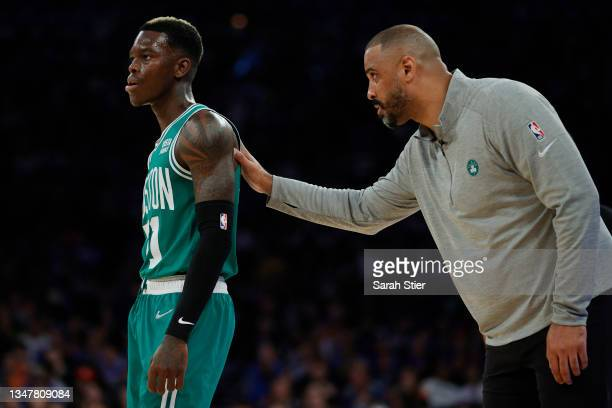 Head coach Ime Udoka talks with Dennis Schroder of the Boston Celtics during the first half against the New York Knicks at Madison Square Garden on...