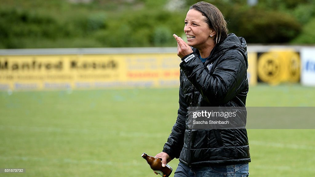 Head coach Inka Grings of Duisburg reacts after winning the 2. Frauen Bundesliga Nord championship at PCC-Stadion on May 15, 2016 in Duisburg, Germany.