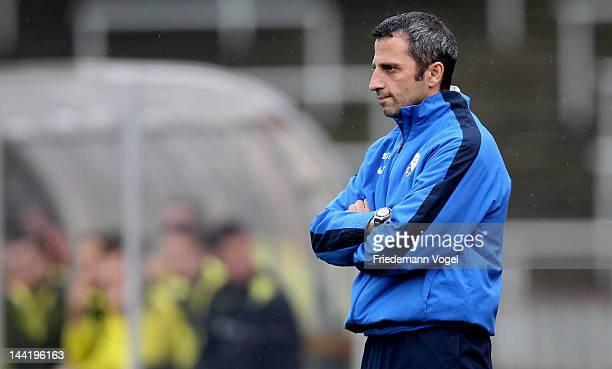 Head coach Iraklis Metaxas of Bochum looks on during the Regionalliga West match between Borussia Dortmund II and VfL Bochum II at stadium Rote Erde...