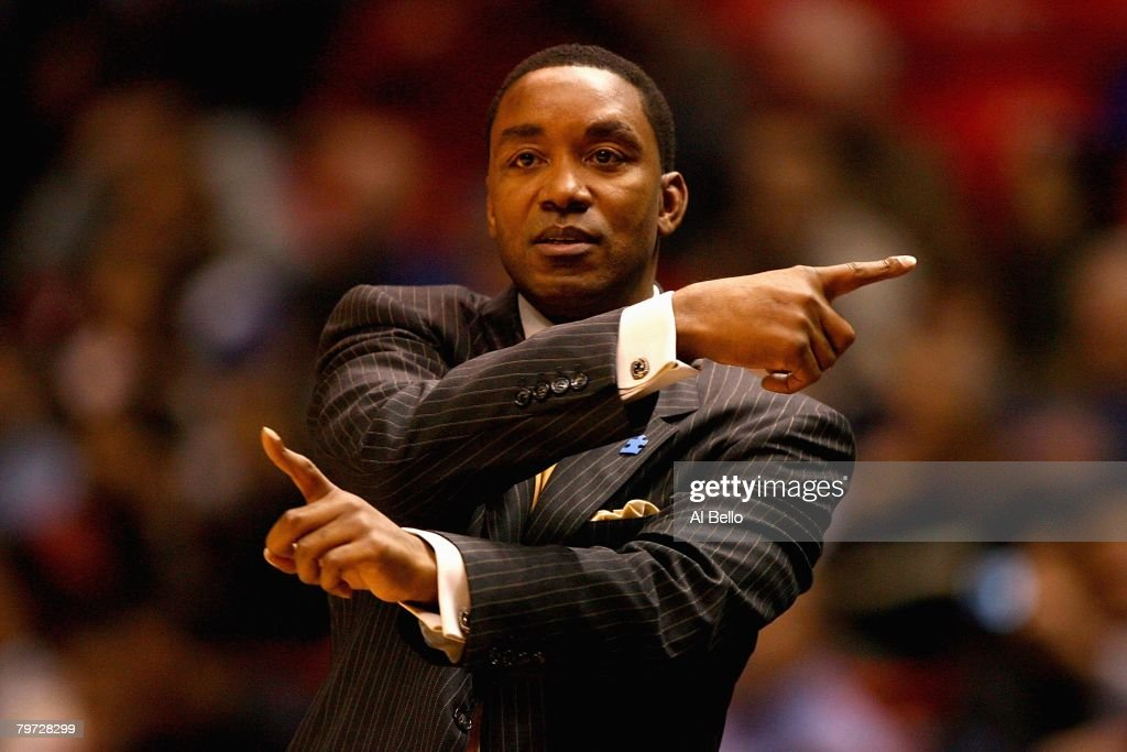 Head coach Isiah Thomas of the New York Knicks directs play during the game against the New Jersey Nets on January 16, 2008 at the IZOD Center in East Rutherford, New Jersey. The Knicks won 111-105.