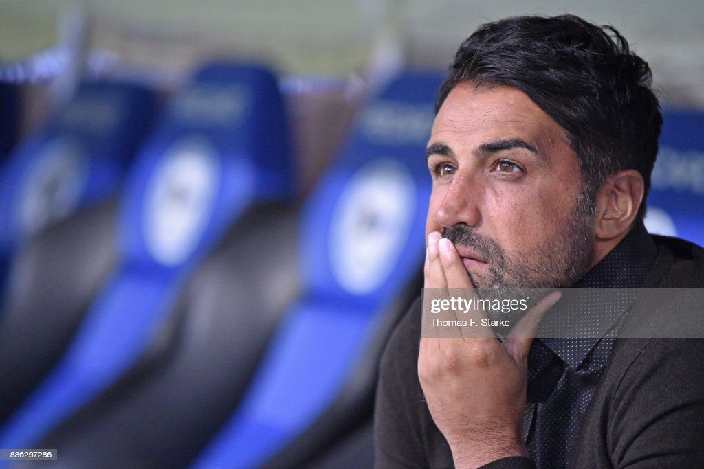 Head coach Ismail Atalan of Bochum looks on prior to the Second Bundesliga match between DSC Arminia Bielefeld and VfL Bochum 1848 at Schueco Arena on August 21, 2017 in Bielefeld, Germany.