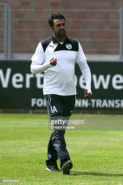Head coach Ismail Atalan of Sportfreunde Lotte looks on prior to the Regionalliga West match between SF Lotte and Alemannia Aachen at Sportpark am...