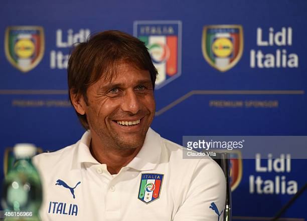 Head Coach Italy Antonio Conte looks on during a press conference at Coverciano on September 1 2015 in Florence Italy