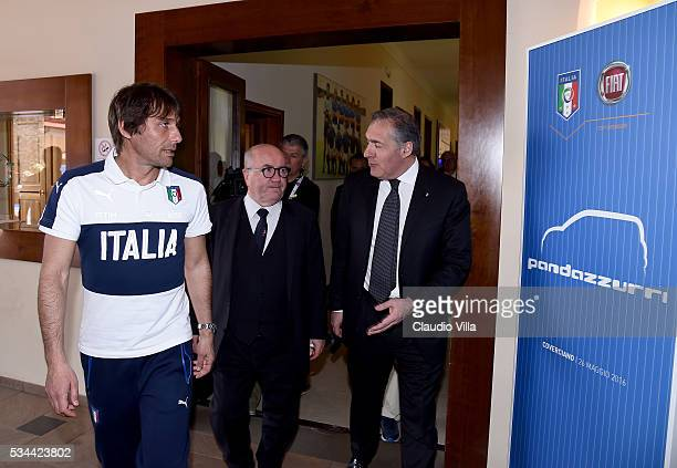 Head Coach Italy Antonio Conte President FIGC Carlo Tavecchio and COO FCA Alfredo Altavilla attend Unveil New Panda Azzurri Car at Coverciano on May...