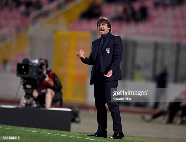 Head coach Italy Antonio Conte reacts during the international friendly between Italy and Scotland on May 29 2016 in Malta Malta
