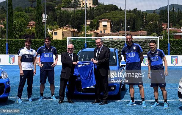 Head Coach Italy Antonio Conte Riccardo Montolivo President FIGC Carlo Tavecchio COO FCA Alfredo Altavilla Leonardo Bonucci and Alessandro Florenzi...