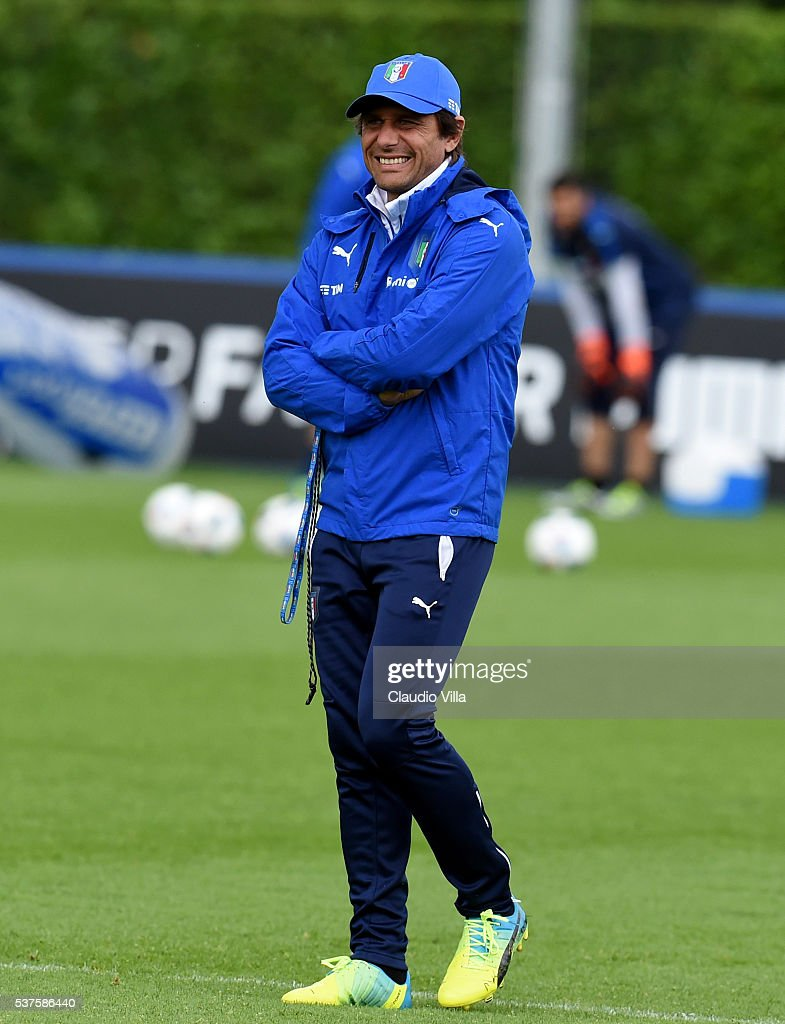 Head coach Italy Antonio Conte smiles during the Italy training session at the club's training ground at Coverciano on June 02, 2016 in Florence, Italy.