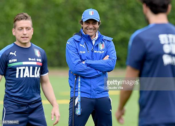 Head coach Italy Antonio Conte smiles during the Italy training session at the club's training ground at Coverciano on June 02 2016 in Florence Italy