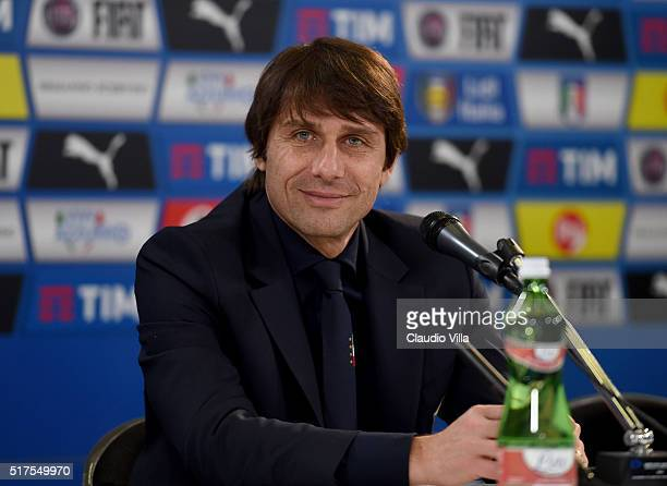 Head Coach Italy Antonio Conte speaks to the media at the end of the international friendly match between Italy and Spain at Stadio Friuli on March...