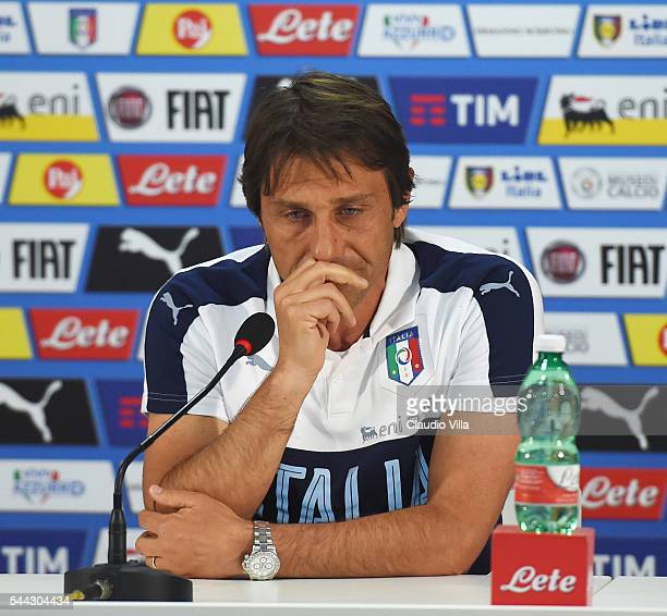 Head coach Italy Antonio Conte speaks with a media during his last press conference at Casa Azzurri on July 03 2016 in Montpellier France