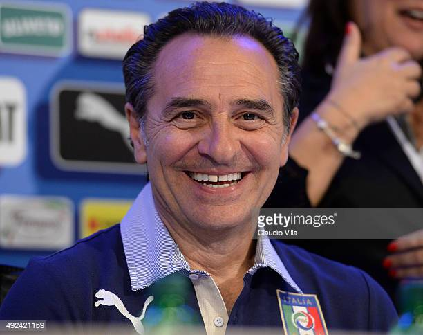 Head coach Italy Cesare Prandelli during press conference at Coverciano on May 20 2014 in Florence Italy