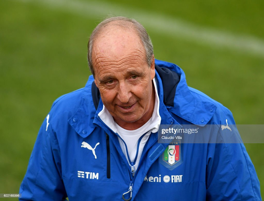 Head coach Italy Giampiero Ventura looks on during the training session at the club's training ground at Coverciano on November 10, 2016 in Florence, Italy.