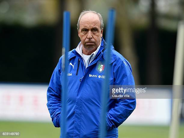 Head coach Italy Giampiero Ventura looks on during the training session at the club's training ground at Milanello on November 14 2016 in Florence...
