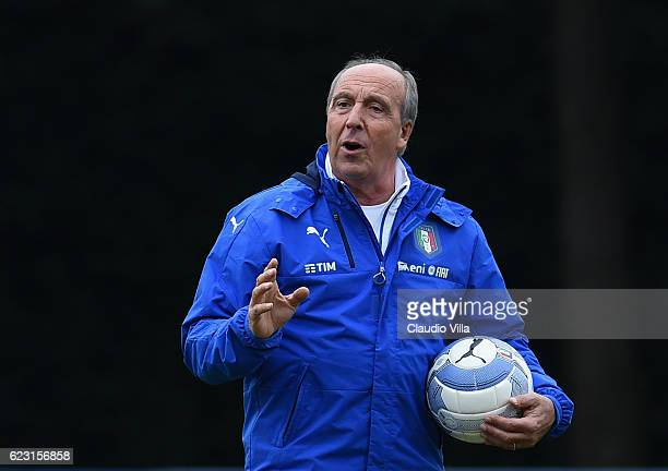 Head coach Italy Giampiero Ventura reacts during the training session at Milanello on November 14 2016 in Florence Italy