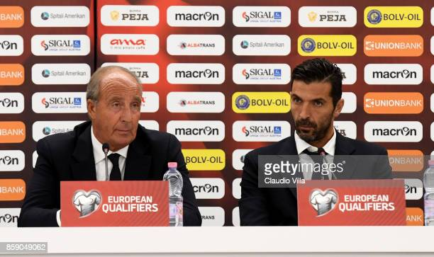 Head coach Italy Gian Piero Ventura and Gianluigi Buffon of Italy speak with a media during a press conference at Loro Borici Stadium on October 8...