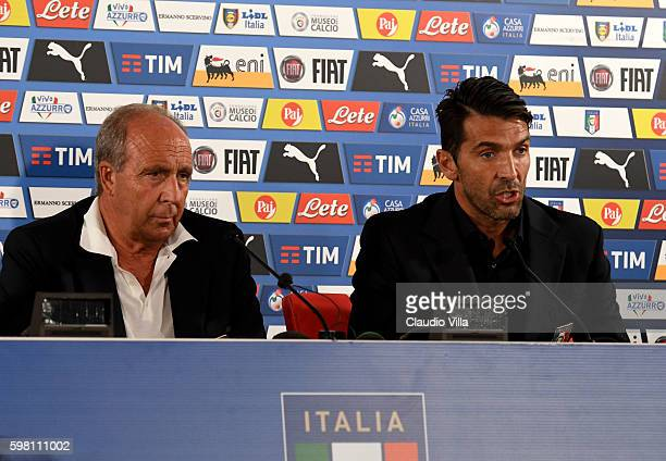 Head coach Italy Gian Piero Ventura and Gianluigi Buffon speak with the media during a press conference at Stadio San Nicola on August 31 2016 in...