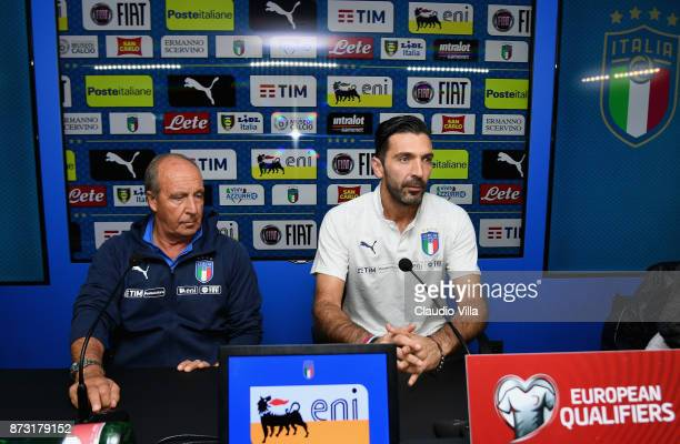 Head coach Italy Gian Piero Ventura and Gianluigi Buffon speaks with the media during the Italy press conference at Appiano Gentile on November 12...