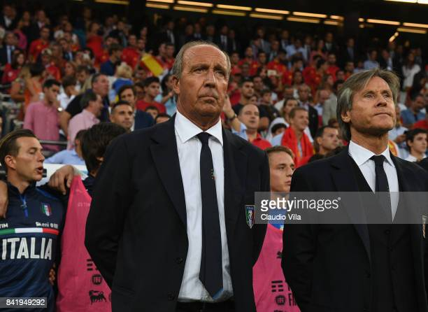Head coach Italy Gian Piero Ventura and Italy Team Manager Gabriele Oriali look on before the FIFA 2018 World Cup Qualifier between Spain and Italy...