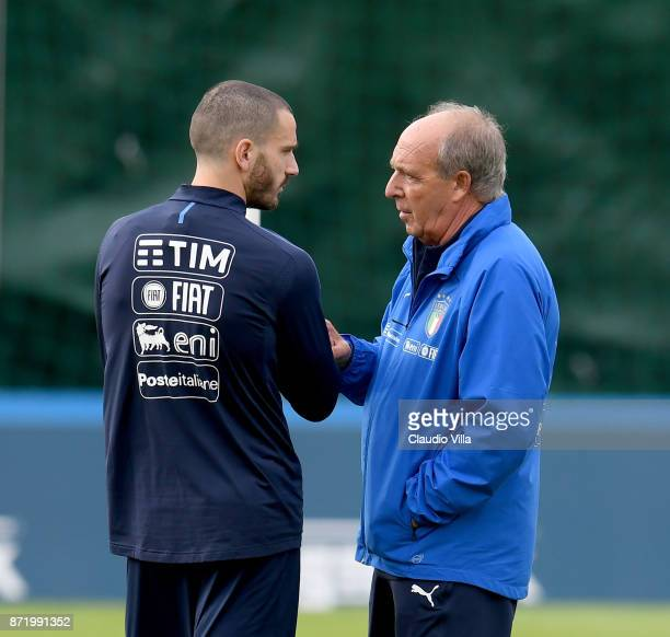 Head coach Italy Gian Piero Ventura and Leonardo Bonucci chat during the training session at Italy club's training ground at Coverciano on November 9...