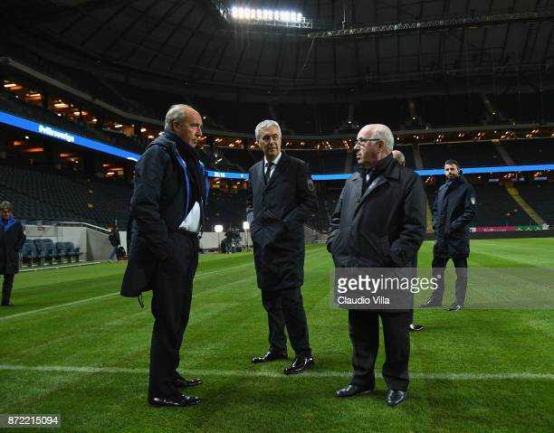 Head coach Italy Gian Piero Ventura and President FIGC Carlo Tavecchio chat during Italy walk around at Friends Arena on November 9 2017 in Stockholm...