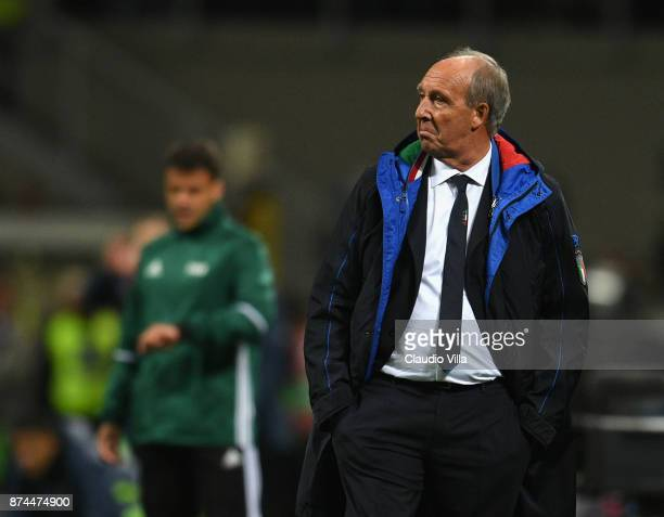 Head coach Italy Gian Piero Ventura dejected at the end of the FIFA 2018 World Cup Qualifier PlayOff Second Leg between Italy and Sweden at San Siro...