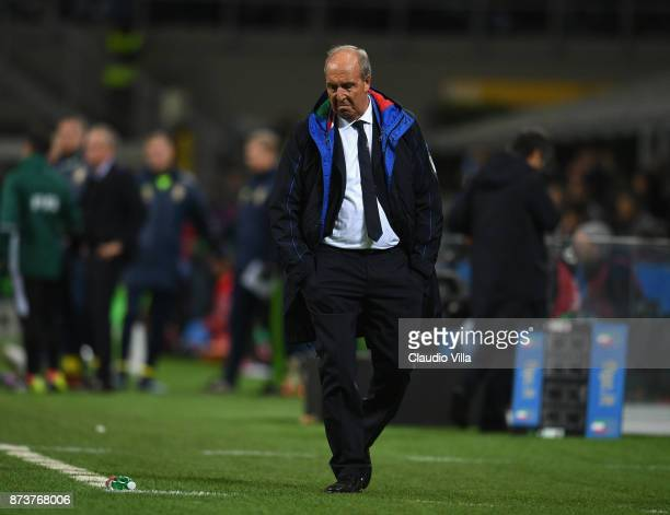Head coach Italy Gian Piero Ventura dejected during the FIFA 2018 World Cup Qualifier PlayOff Second Leg between Italy and Sweden at San Siro Stadium...