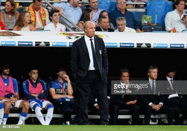Head coach Italy Gian Piero Ventura looks on at the FIFA 2018 World Cup Qualifier between Spain and Italy at Estadio Santiago Bernabeu on September 2...