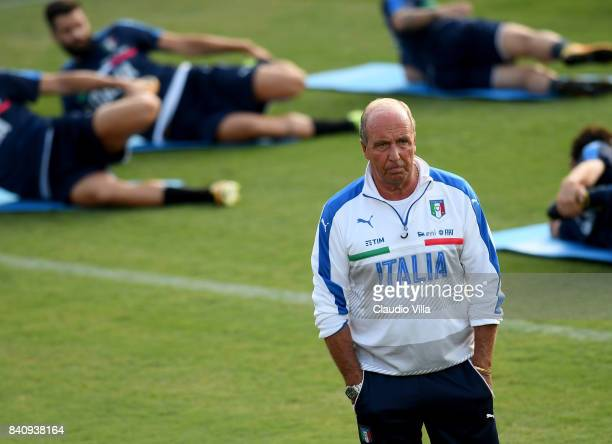 Head coach Italy Gian Piero Ventura looks on during the training session at Coverciano on August 30 2017 in Florence Italy