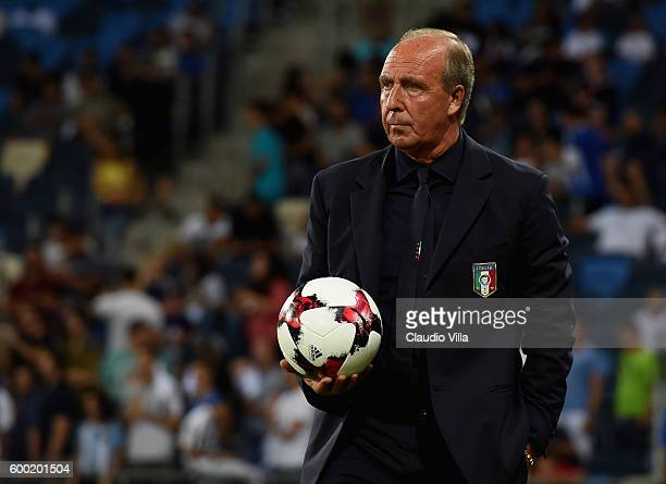 Head coach Italy Gian Piero Ventura looks on prior to the FIFA 2018 World Cup Qualifier between Israel and Italy at Itztadion Sammy Ofer on September...