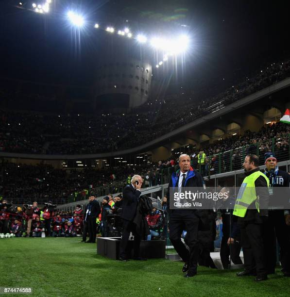 Head coach Italy Gian Piero Ventura looks on prior to the FIFA 2018 World Cup Qualifier PlayOff Second Leg between Italy and Sweden at San Siro...