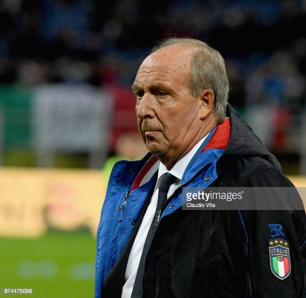 Head coach Italy Gian Piero Ventura looks on prior to the FIFA 2018 World Cup Qualifier Play-Off: Second Leg between Italy and Sweden at San Siro...