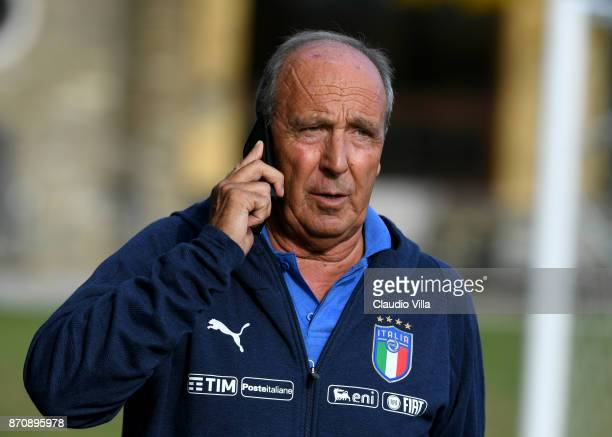 Head coach Italy Gian Piero Ventura looks on prior to the training session at Italy club's training ground at Coverciano on November 6, 2017 in...