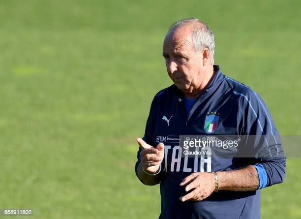 Head coach Italy Gian Piero Ventura reacts during a Italy training session at Sisport Mirafiori on October 8 2017 in Turin Italy