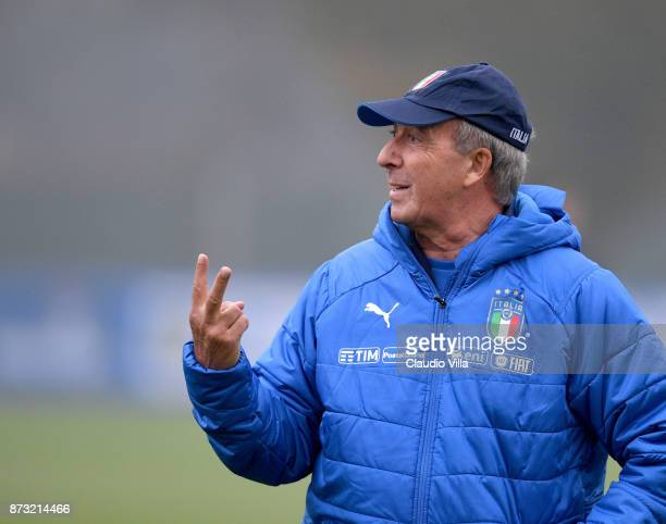 Head coach Italy Gian Piero Ventura reacts during Italy training session at Appiano Gentile on November 12 2017 in Como Italy