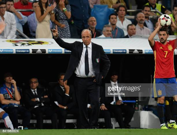 Head coach Italy Gian Piero Ventura reacts during the FIFA 2018 World Cup Qualifier between Spain and Italy at Estadio Santiago Bernabeu on September...