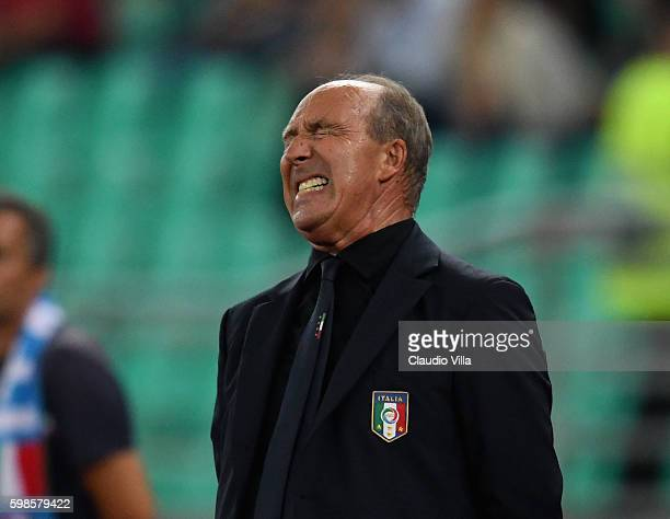 Head coach Italy Gian Piero Ventura reacts during the international friendly match between Italy and France at Stadio San Nicola on September 1 2016...