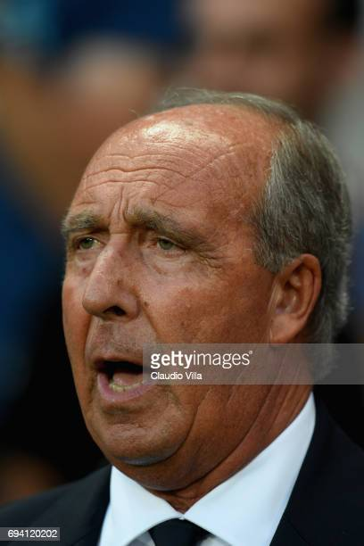 Head coach Italy Gian Piero Ventura reacts during the International Friendly match between Italy and Uruguay at Allianz Riviera Stadium on June 7...