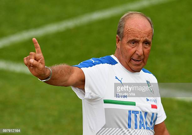 Head coach Italy Gian Piero Ventura reacts during the Italy training session at the club's training ground at Coverciano on August 30 2016 in...