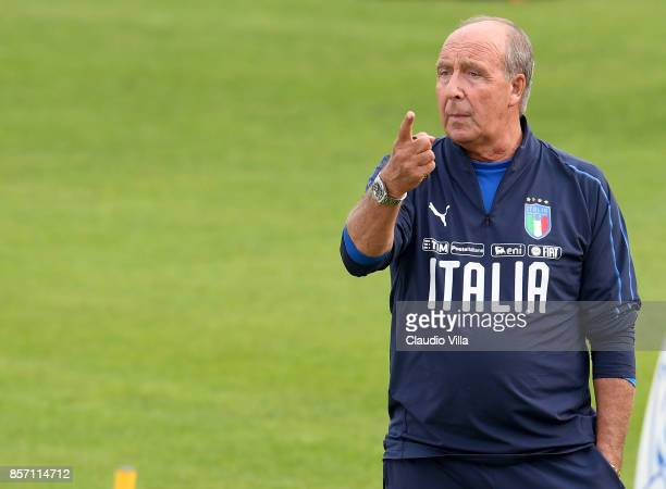 Head coach Italy Gian Piero Ventura reacts during the training session at Italy club's training ground at Coverciano on October 3 2017 in Florence...