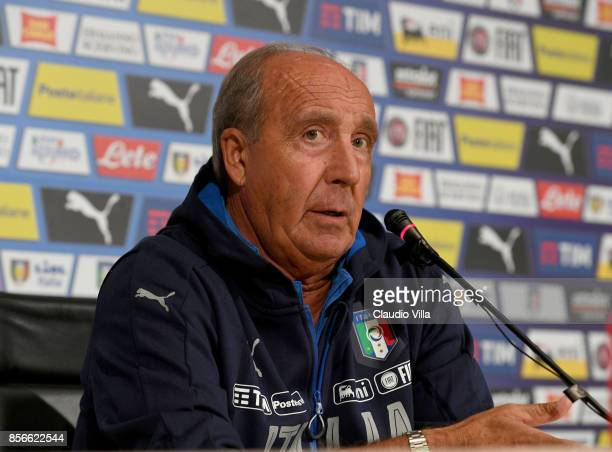 Head coach Italy Gian Piero Ventura speaks with a media during a press conference at Italy club's training ground at Coverciano on October 2 2017 in...