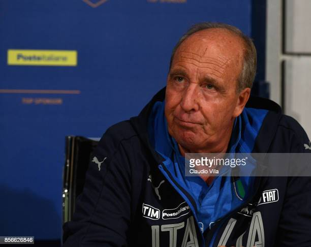 Head coach Italy Gian Piero Ventura speaks with the media during a press conference at Italy club's training ground at Coverciano on October 2 2017...