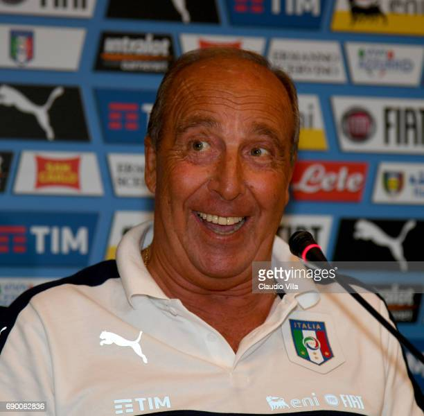 Head coach Italy Gian Piero Ventura speaks with the media during the press conference at Coverciano at Coverciano on May 30 2017 in Florence Italy