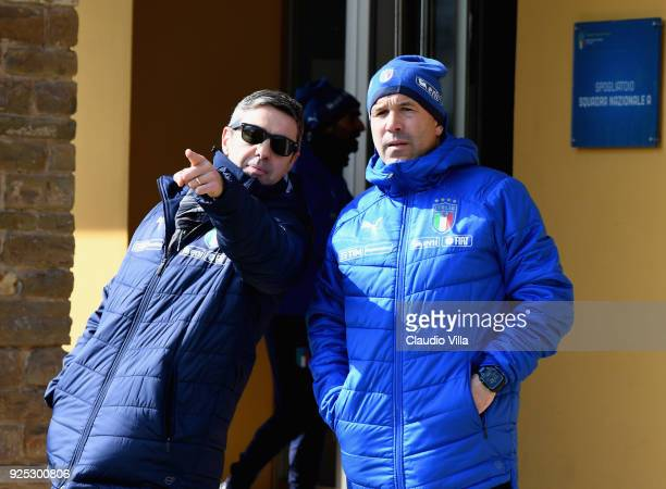 Head coach Italy Luigi Di Biagio and FIGC Vice Commissioner Alessandro Costacurta chat prior to the friendly match between Italy and Fiorentina U19...