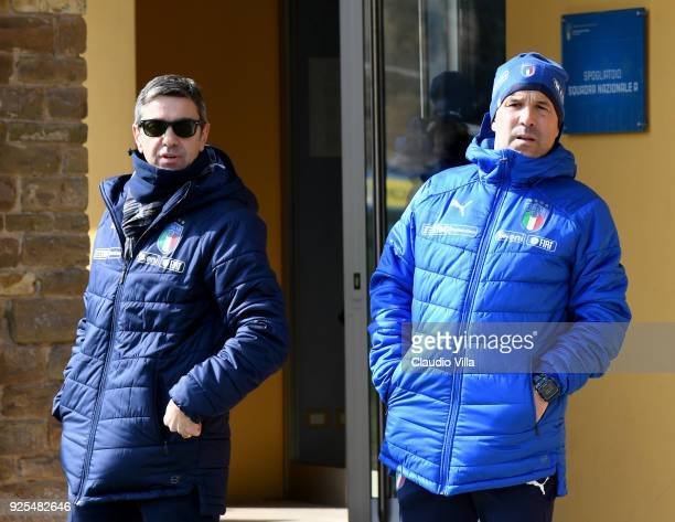 Head coach Italy Luigi Di Biagio and FIGC Vice Commissioner Alessandro Costacurta chat prior to the frienldy match between Italy and Fiorentina U19...